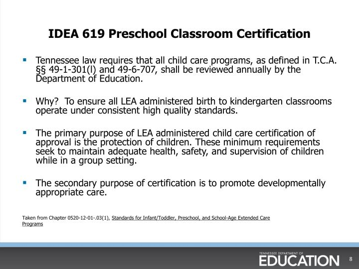 IDEA 619 Preschool Classroom Certification