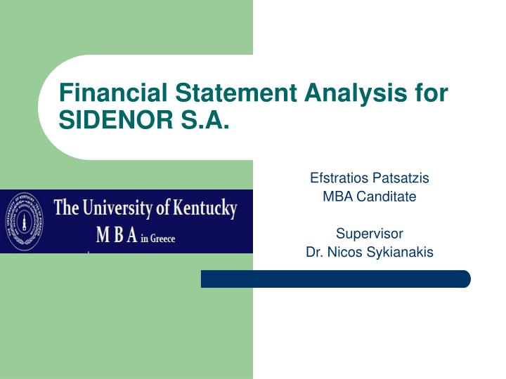 financial statement analysis for sidenor s a