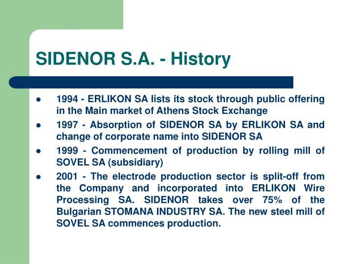 SIDENOR S.A. - History