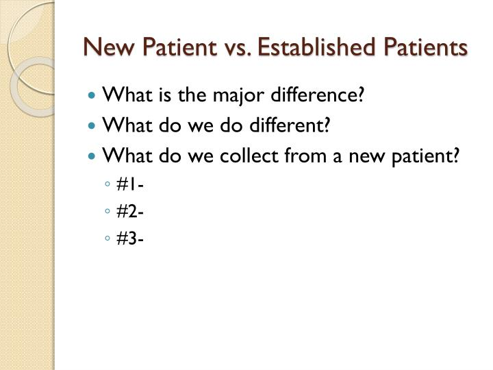 New Patient vs. Established Patients