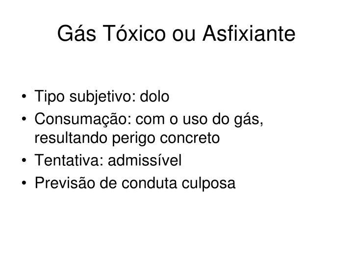 Gás Tóxico ou Asfixiante