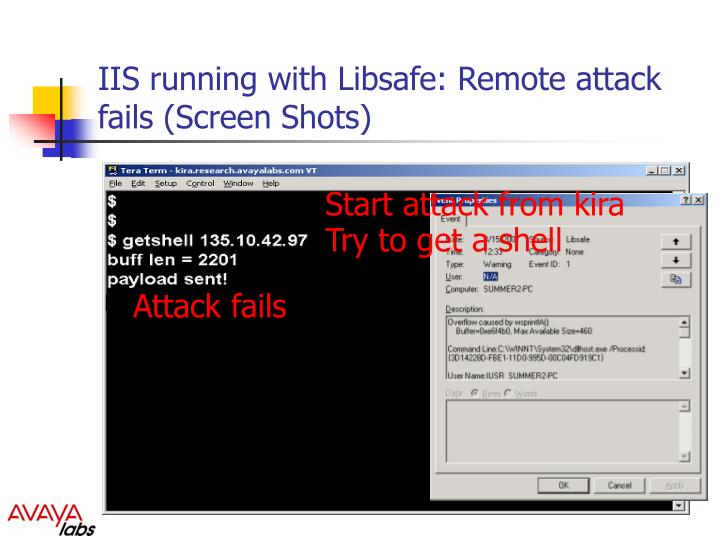 IIS running with Libsafe: Remote attack fails (Screen Shots)