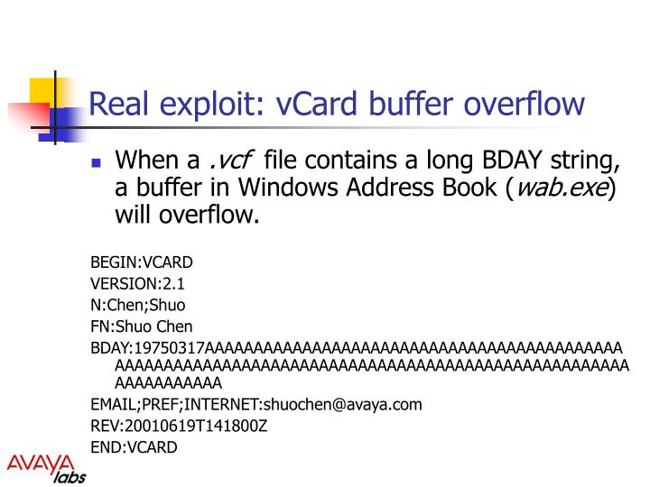 Real exploit: vCard buffer overflow