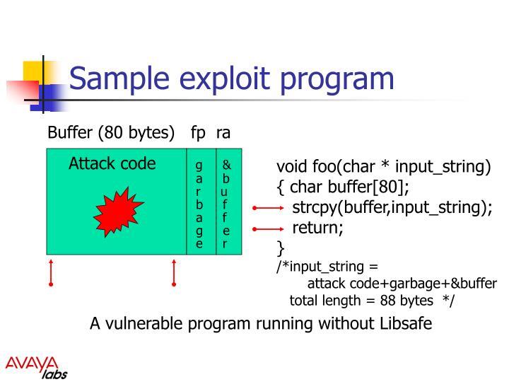 Sample exploit program