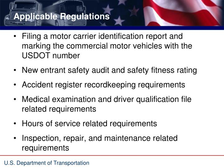 Applicable Regulations