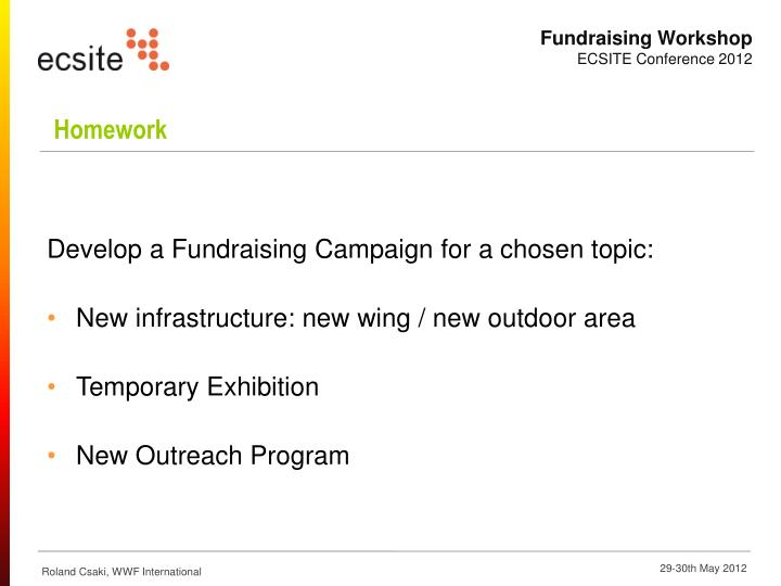 Develop a Fundraising Campaign for a chosen topic:
