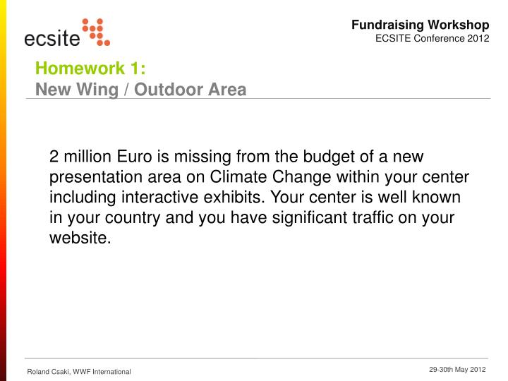 2 million Euro is missing from the budget of a new presentation area on Climate Change within your center including interactive exhibits. Your center is well known in your country and you have significant traffic on your website.