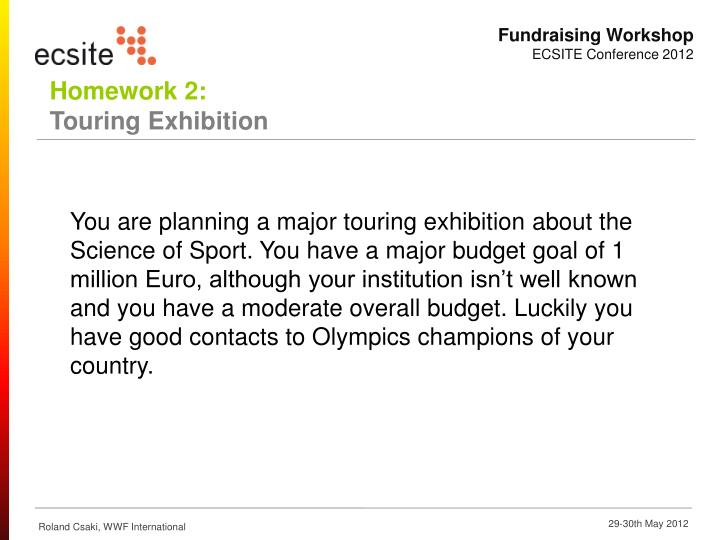 You are planning a major touring exhibition about the Science of Sport. You have a major budget goal of 1 million Euro, although your institution isn't well known and you have a moderate overall budget. Luckily you have good contacts to Olympics champions of your country.