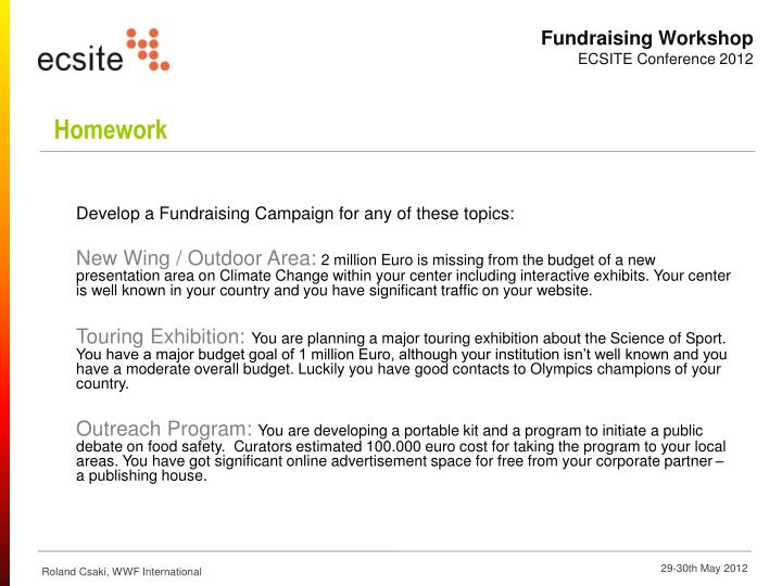 Develop a Fundraising Campaign for any of these topics: