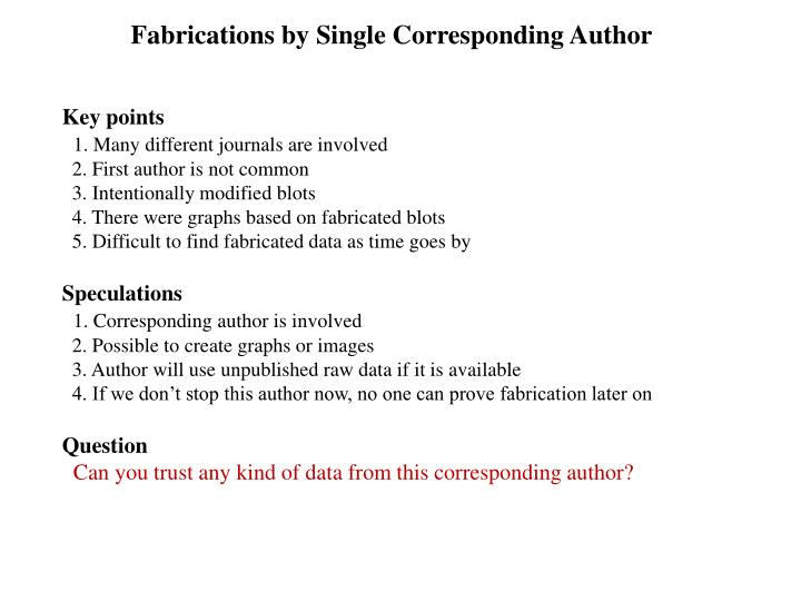 Fabrications by Single Corresponding Author