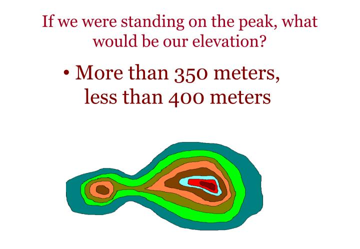 If we were standing on the peak, what would be our elevation?