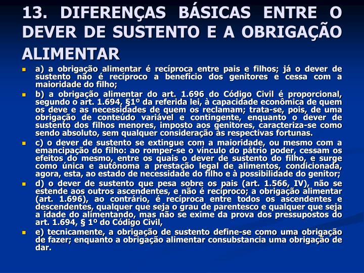13. DIFERENÇAS BÁSICAS ENTRE O DEVER DE SUSTENTO E A OBRIGAÇÃO ALIMENTAR