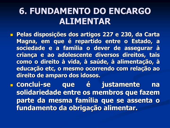 6. FUNDAMENTO DO ENCARGO ALIMENTAR