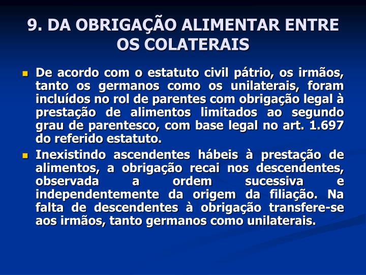 9. DA OBRIGAÇÃO ALIMENTAR ENTRE OS COLATERAIS