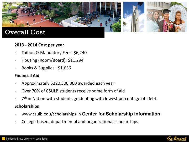 2013 - 2014 Cost per year