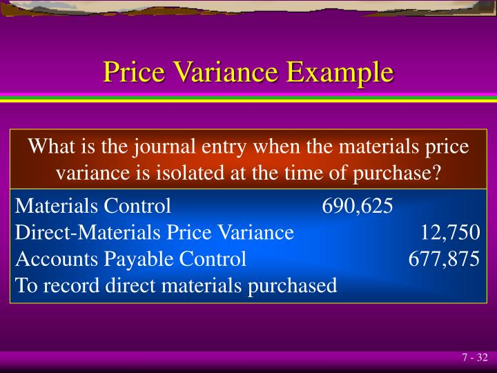 Price Variance Example