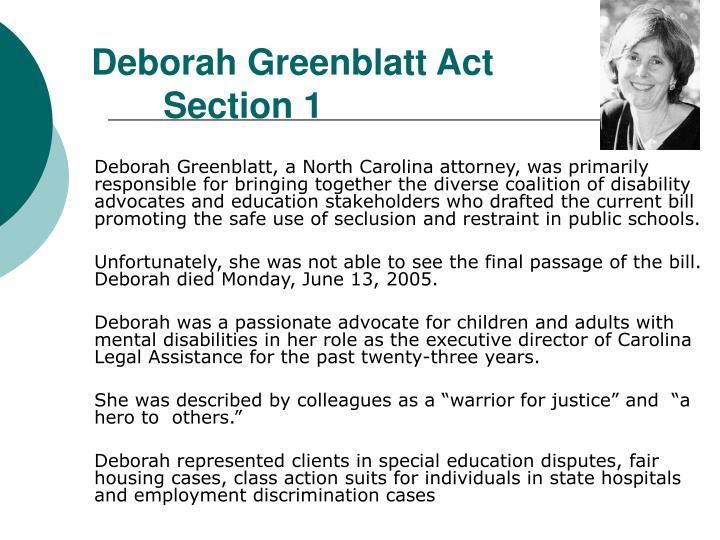 Deborah Greenblatt Act