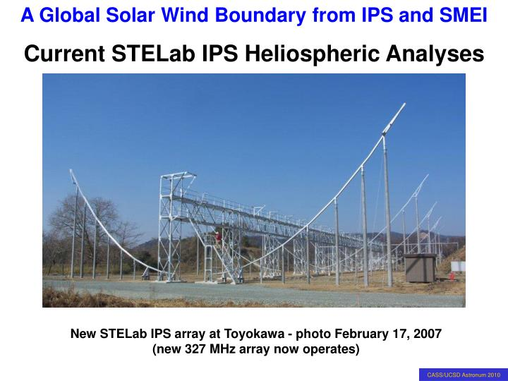Current STELab IPS Heliospheric Analyses