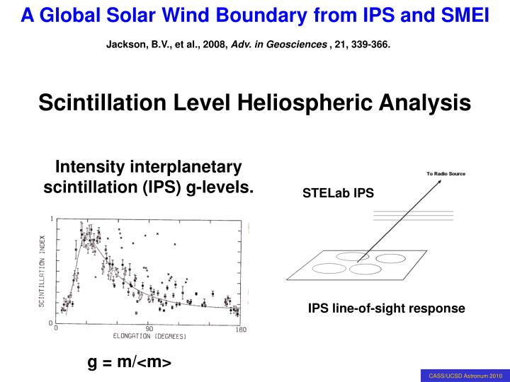 Scintillation Level Heliospheric Analysis