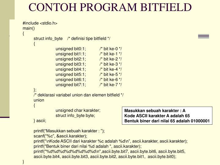 CONTOH PROGRAM BITFIELD