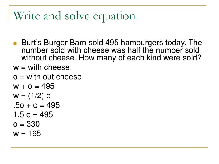 Write and solve equation.