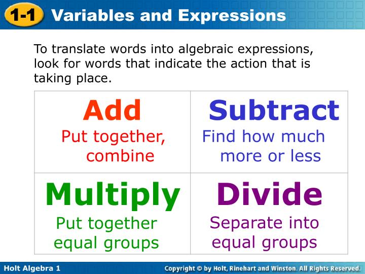 To translate words into algebraic expressions, look for words that indicate the action that is taking place.