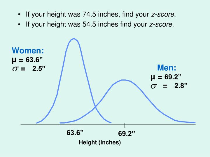 If your height was 74.5 inches, find your