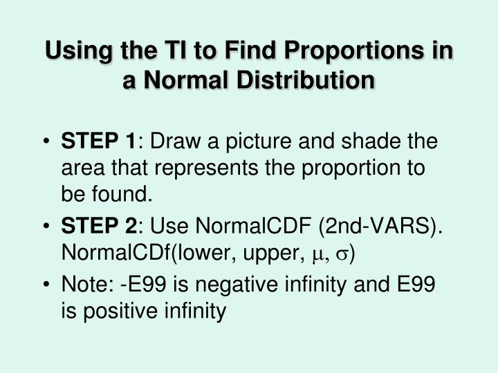 Using the TI to Find Proportions in a Normal Distribution