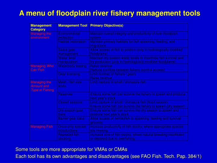 A menu of floodplain river fishery management tools