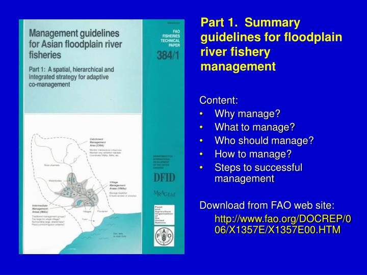 Part 1.  Summary guidelines for floodplain river fishery management