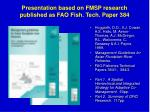 presentation based on fmsp research published as fao fish tech paper 384