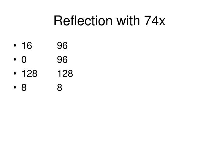 Reflection with 74x