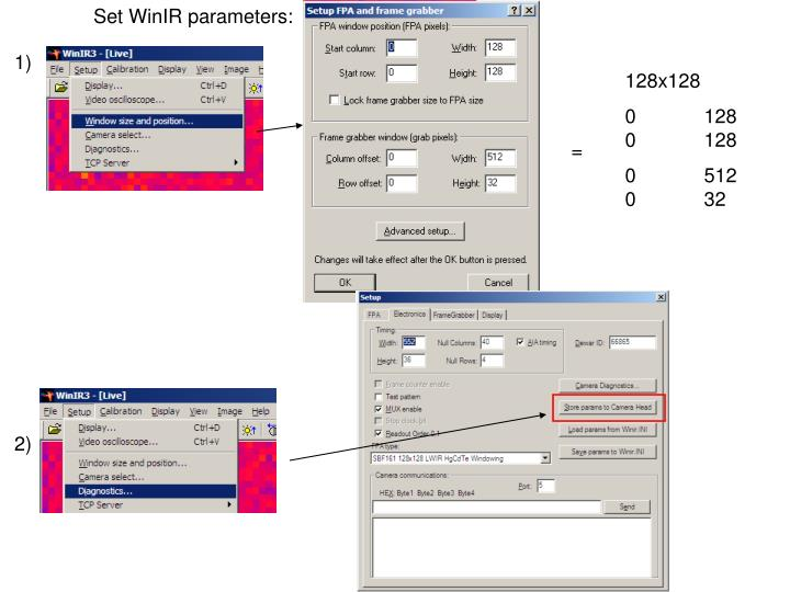 Set WinIR parameters: