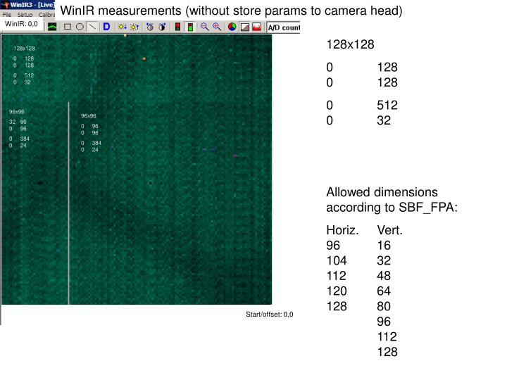 WinIR measurements (without store params to camera head)