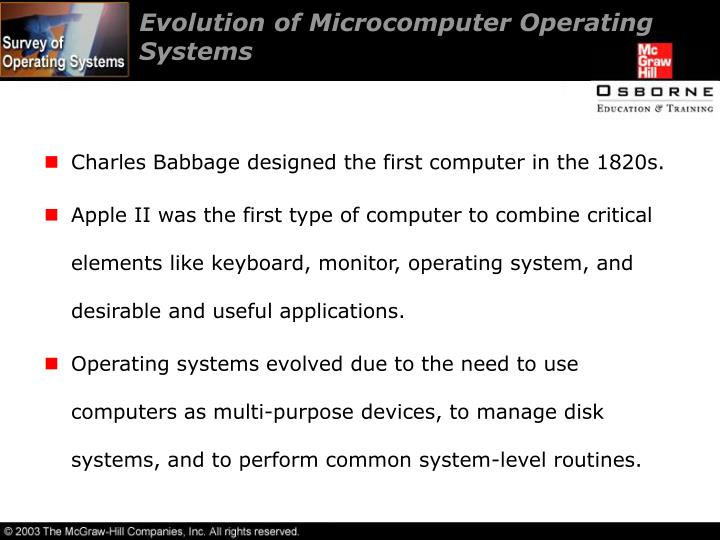 Evolution of Microcomputer Operating Systems