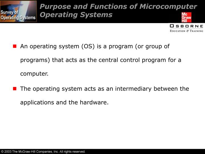 Purpose and Functions of Microcomputer Operating Systems