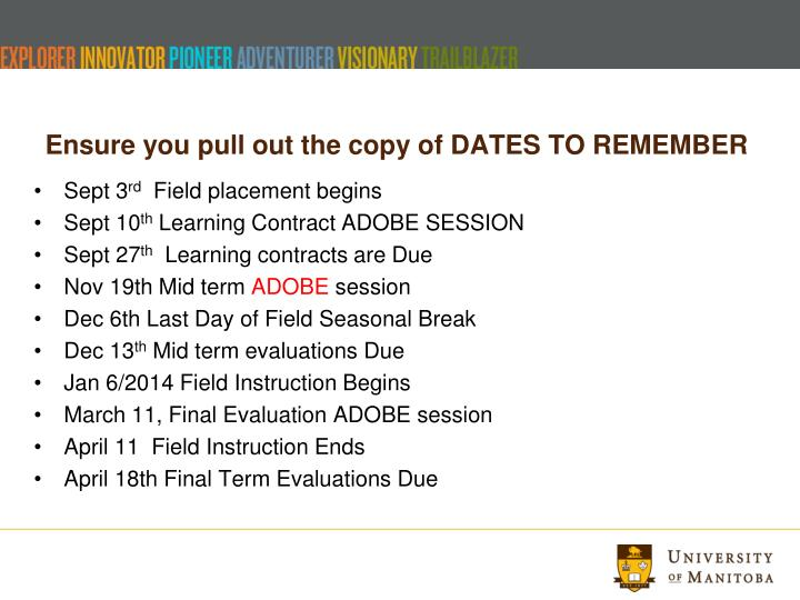 Ensure you pull out the copy of DATES TO REMEMBER