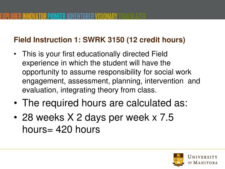 Field Instruction 1: SWRK 3150 (12 credit hours)