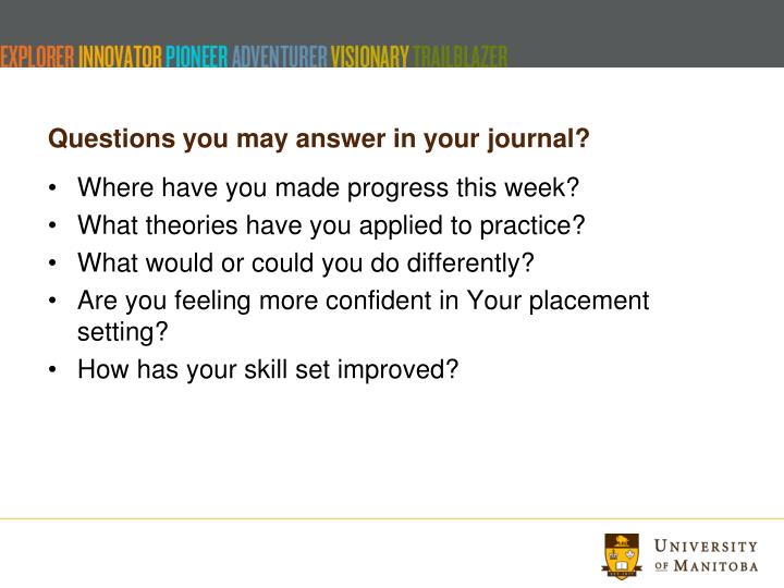 Questions you may answer in your journal?