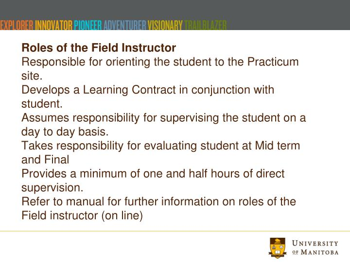Roles of the Field Instructor