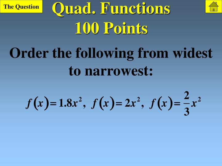 Quad functions 100 points