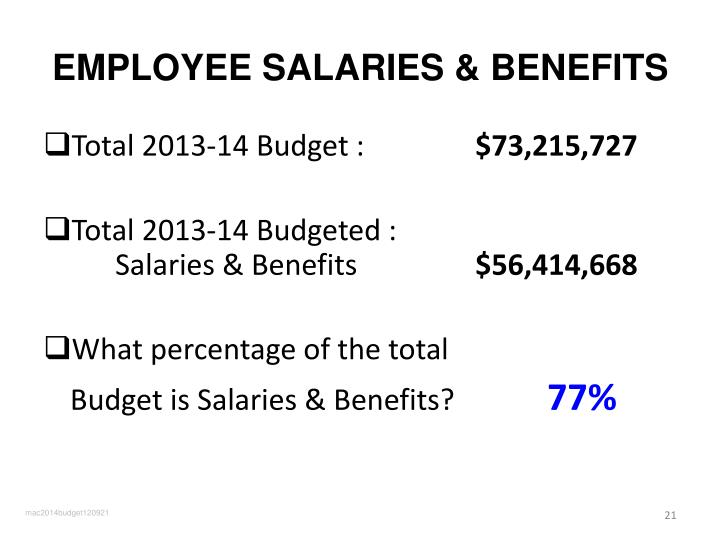 EMPLOYEE SALARIES & BENEFITS