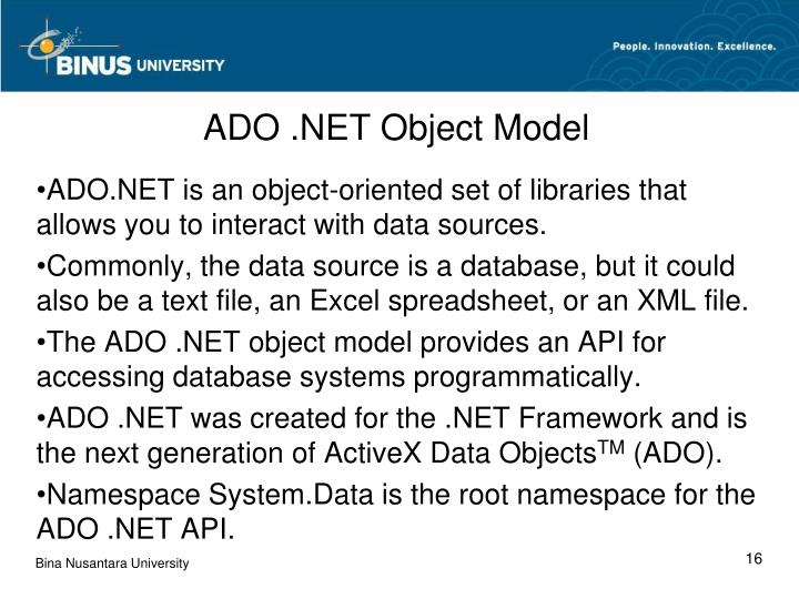 ADO .NET Object Model