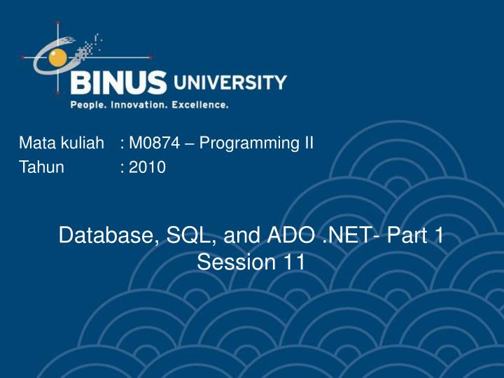 Database sql and ado net part 1 session 11
