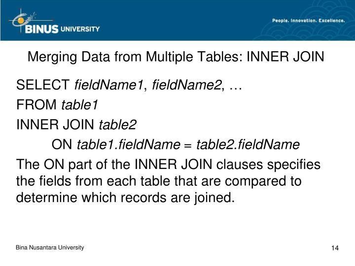 Merging Data from Multiple Tables: INNER JOIN