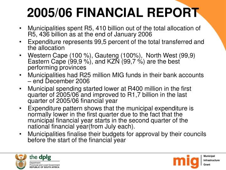 2005/06 FINANCIAL REPORT