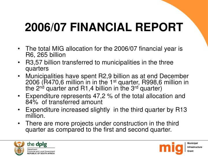 2006/07 FINANCIAL REPORT