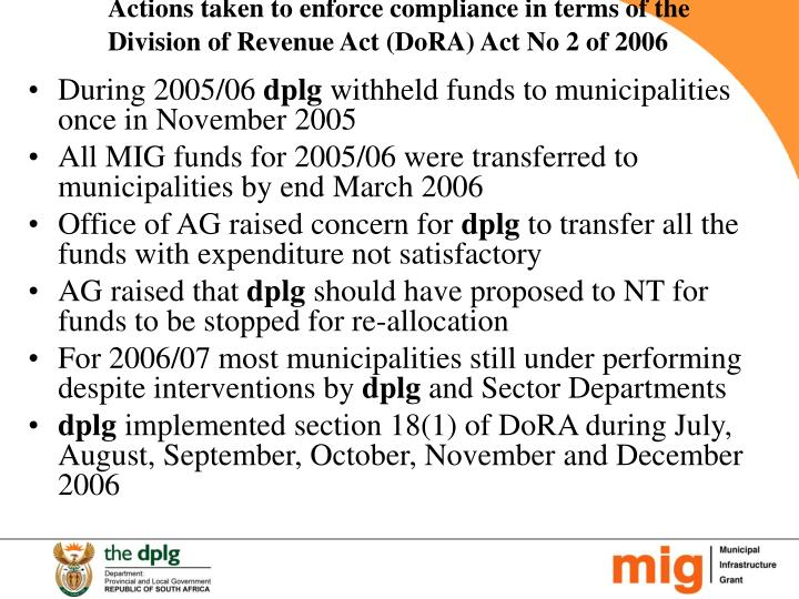 Actions taken to enforce compliance in terms of the Division of Revenue Act (DoRA) Act No 2 of 2006