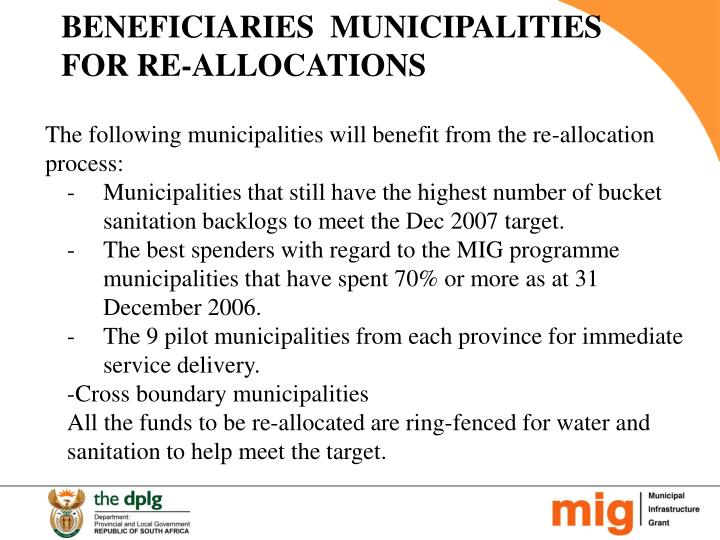 BENEFICIARIES  MUNICIPALITIES FOR RE-ALLOCATIONS